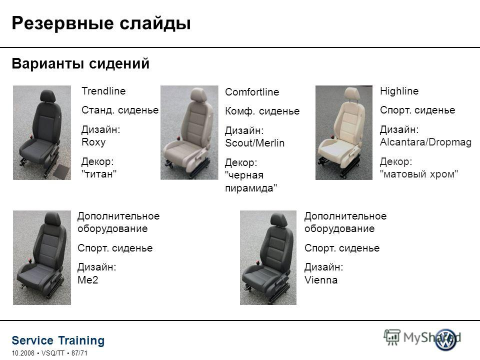 Service Training 10.2008 VSQ/TT 87/71 Резервные слайды Варианты сидений Trendline Станд. сиденье Дизайн: Roxy Декор: