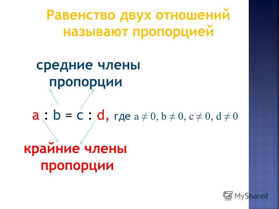Равенство двух отношений называют пропорцией средние члены пропорции a : b = c : d, где a 0, b 0, c 0, d 0 крайние члены пропорции