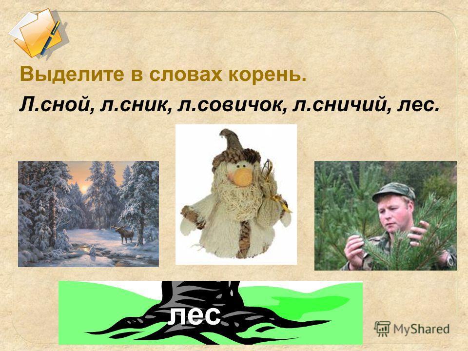 лес Выделите в словах корень. Л.мной, л.сник, л.новичок, л.сничий, лес.