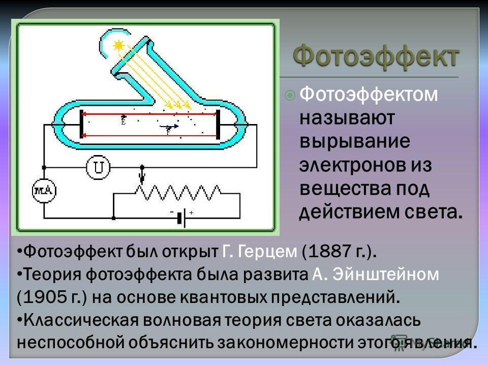 Фотоэффектом называют вырывание электронов из вещества под действием света. Фотоэффект был открыт Г. Герцем (1887 г.). Теория фотоэффекта была развита А. Эйнштейном (1905 г.) на основе квантовых представлений. Классическая волновая теория света оказа