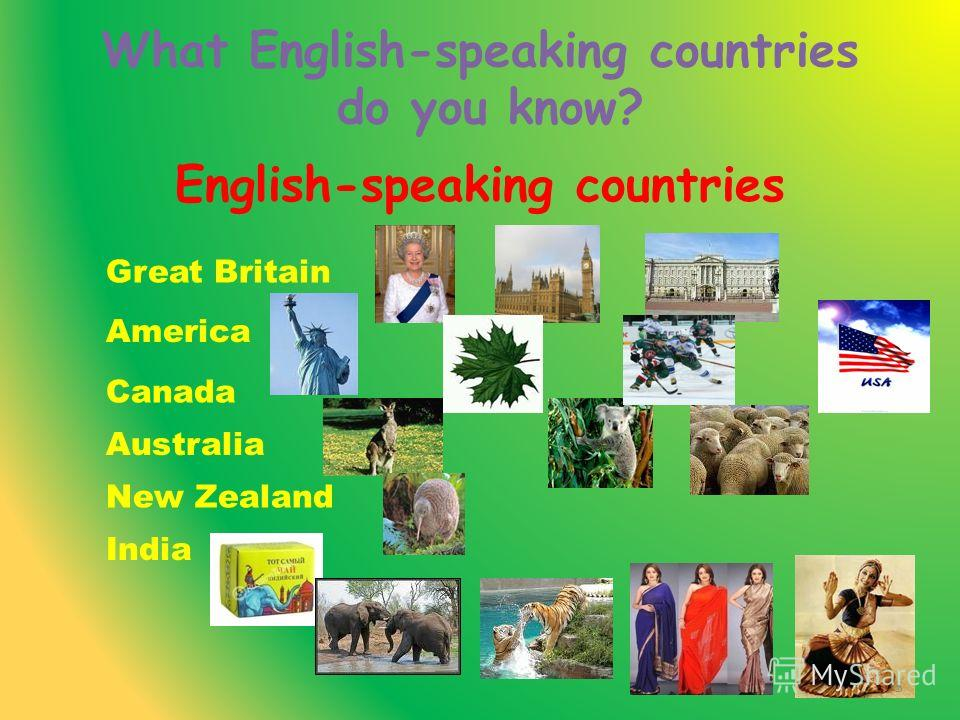 English-speaking countries Great Britain America Canada Australia India New Zealand What English-speaking countries do you know? 5