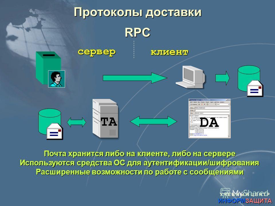 У Ч Е Б Н Ы Й Ц Е Н Т Р ИНФОРМЗАЩИТА Протоколы доставки RPC сервер клиент DA TA Почта хранится либо на клиенте, либо на сервере Используются средства ОС для аутентификации/шифрования Расширенные возможности по работе с сообщениями