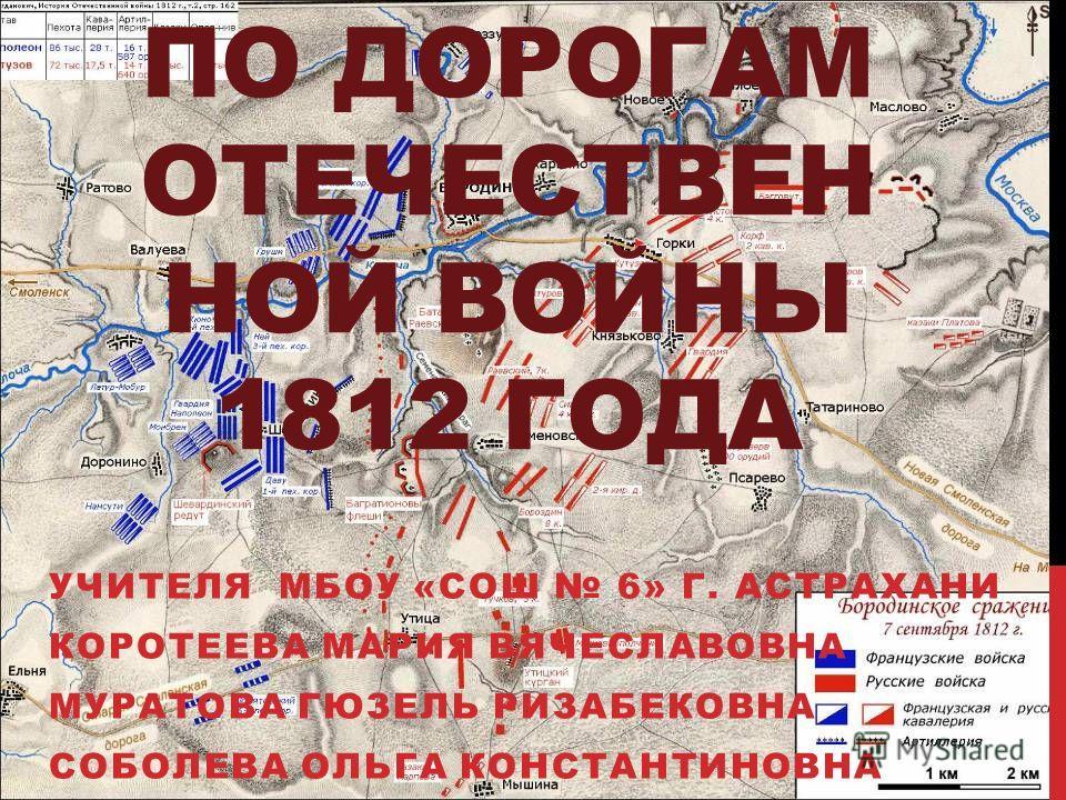ПО ДОРОГАМ ОТЕЧЕСТВЕН НОЙ ВОЙНЫ 1812 ГОДА УЧИТЕЛЯ МБОУ «СОШ 6» Г. АСТРАХАНИ КОРОТЕЕВА МАРИЯ ВЯЧЕСЛАВОВНА МУРАТОВА ГЮЗЕЛЬ РИЗАБЕКОВНА СОБОЛЕВА ОЛЬГА КОНСТАНТИНОВНА