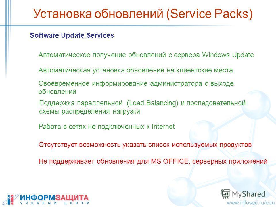 Установка обновлений (Service Packs) Software Update Services Автоматическое получение обновлений с сервера Windows Update Автоматическая установка обновления на клиентские места Своевременное информирование администратора о выходе обновлений Поддерж