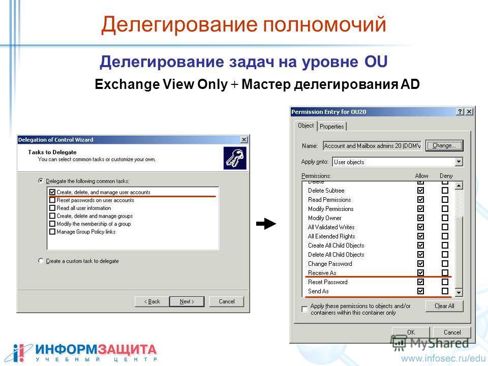 Делегирование полномочий Делегирование задач на уровне OU Exchange View Only + Мастер делегирования AD