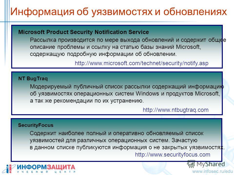 Информация об уязвимостях и обновлениях Microsoft Product Security Notification Service http://www.microsoft.com/technet/security/notify.asp Рассылка производится по мере выхода обновлений и содержит общее описание проблемы и ссылку на статью базы зн
