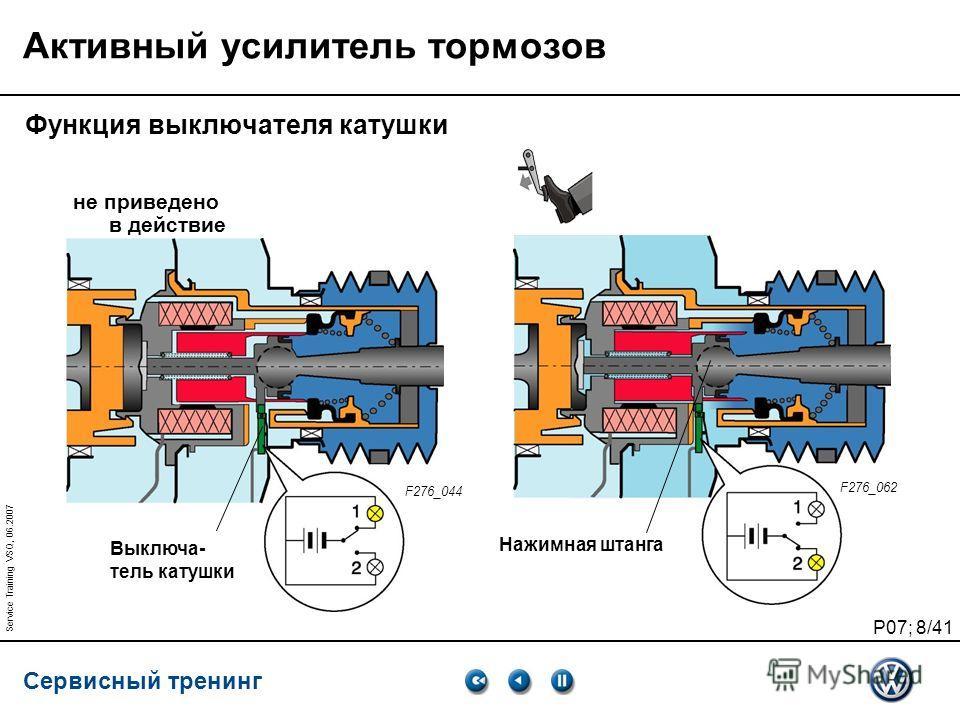 Сервисный тренинг P07; 8/41 Service Training VSQ, 06.2007 Активный усилитель тормозов Функция выключателя катушки Выключа- тель катушки Нажимная штанга не приведено в действие F276_044 F276_062