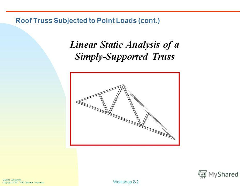 Workshop 2-2 NAS101 Workshops Copyright 2001 MSC.Software Corporation Roof Truss Subjected to Point Loads (cont.)
