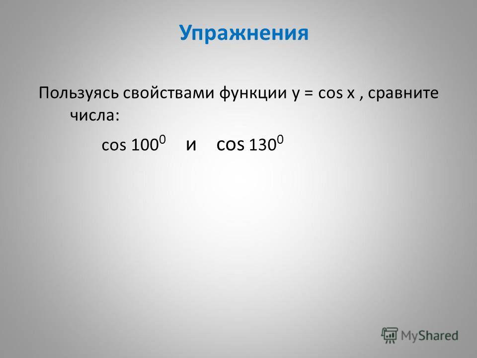 Упражнения Пользуясь свойствами функции у = cos x, сравните числа: cos 100 0 и cos 130 0