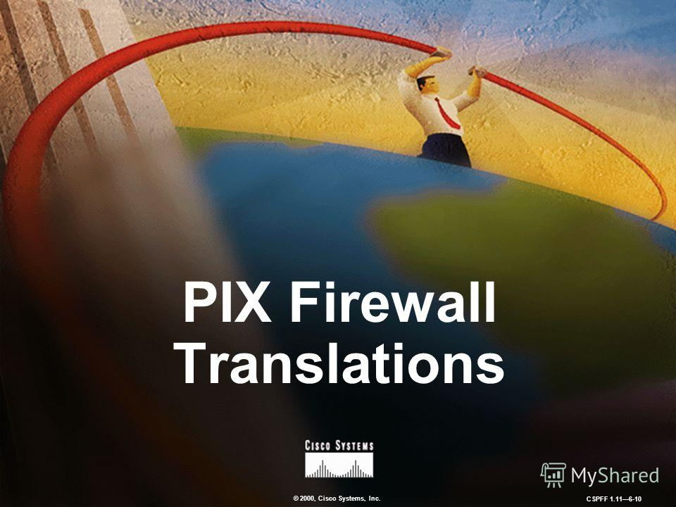 © 2000, Cisco Systems, Inc. CSPFF 1.116-10 PIX Firewall Translations