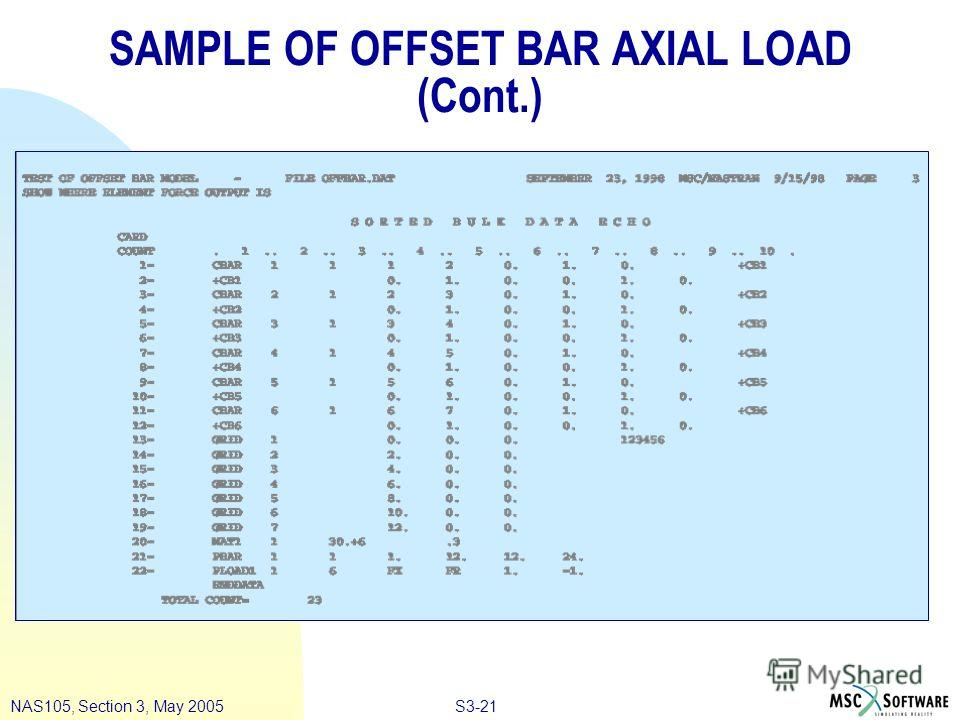 S3-21NAS105, Section 3, May 2005 SAMPLE OF OFFSET BAR AXIAL LOAD (Cont.)