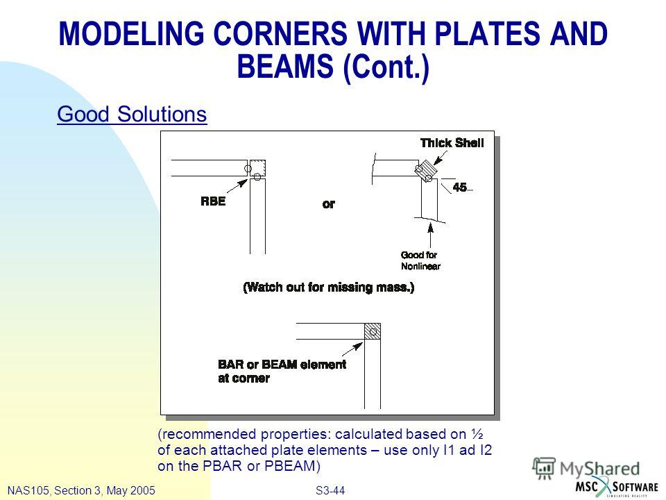 S3-44NAS105, Section 3, May 2005 MODELING CORNERS WITH PLATES AND BEAMS (Cont.) Good Solutions (recommended properties: calculated based on ½ of each attached plate elements – use only I1 ad I2 on the PBAR or PBEAM)