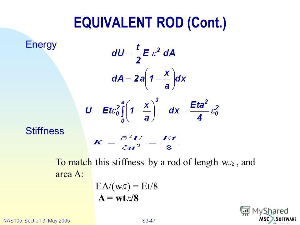S3-47NAS105, Section 3, May 2005 To match this stiffness by a rod of length w, and area A: EA/(w ) = Et/8 A = wt /8 EQUIVALENT ROD (Cont.) Energy Stiffness