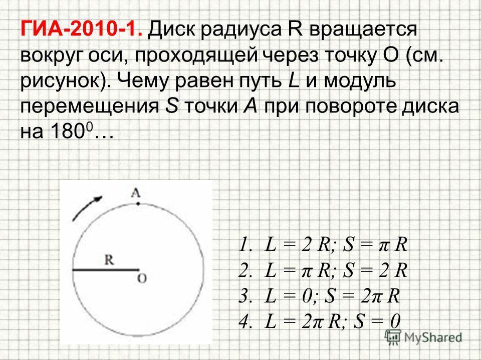 ГИА-2010-1. Диск радиуса R вращается вокруг оси, проходящей через точку О (см. рисунок). Чему равен путь L и модуль перемещения S точки А при повороте диска на 180 0 … 1. L = 2 R; S = π R 2. L = π R; S = 2 R 3. L = 0; S = 2π R 4. L = 2π R; S = 0