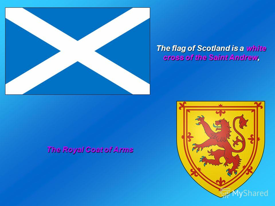 The flag of Scotland is a white cross of the Saint Andrew, The Royal Coat of Arms