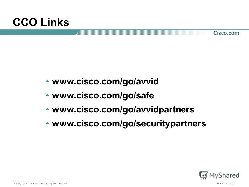 © 2003, Cisco Systems, Inc. All rights reserved. CSPFA 3.12-23 CCO Links www.cisco.com/go/avvid www.cisco.com/go/safe www.cisco.com/go/avvidpartners www.cisco.com/go/securitypartners