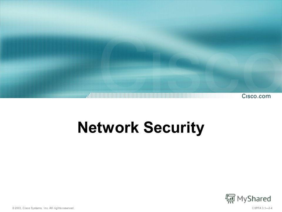 © 2003, Cisco Systems, Inc. All rights reserved. CSPFA 3.12-4 Network Security