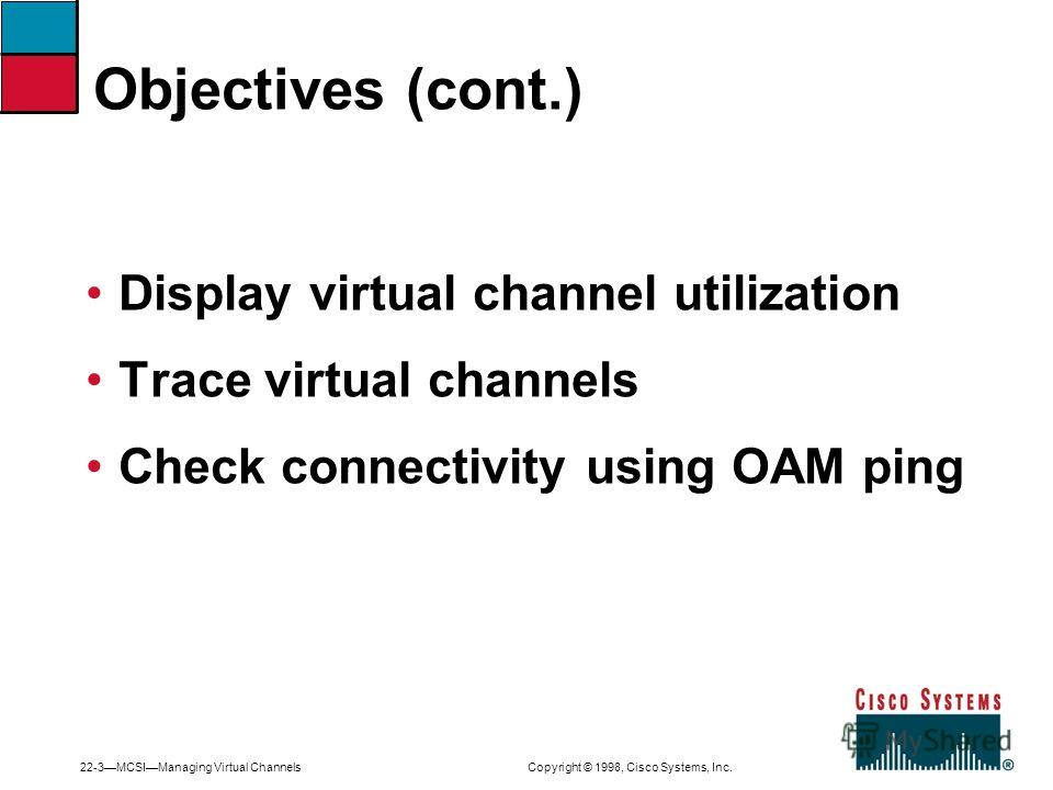 22-3MCSIManaging Virtual Channels Copyright © 1998, Cisco Systems, Inc. Display virtual channel utilization Trace virtual channels Check connectivity using OAM ping Objectives (cont.)