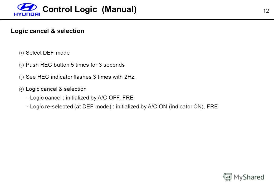 12 Logic cancel & selection Select DEF mode Push REC button 5 times for 3 seconds See REC indicator flashes 3 times with 2Hz. Logic cancel & selection - Logic cancel : initialized by A/C OFF, FRE - Logic re-selected (at DEF mode) : initialized by A/C