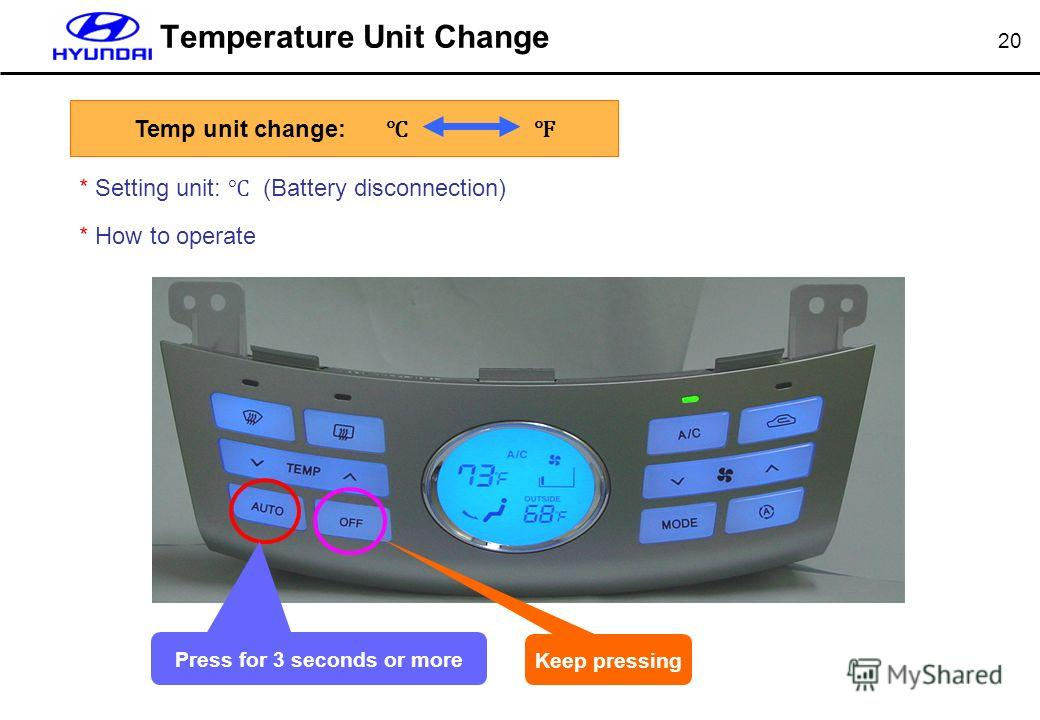 20 Temperature Unit Change * Setting unit: (Battery disconnection) * How to operate Keep pressing Press for 3 seconds or more Temp unit change: