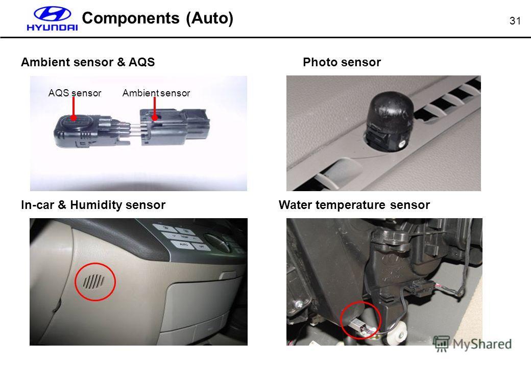 31 Components (Auto) Ambient sensor & AQS In-car & Humidity sensor Photo sensor Water temperature sensor AQS sensorAmbient sensor