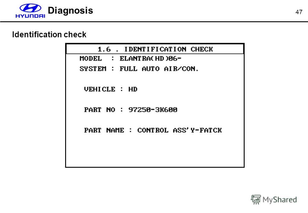 47 Diagnosis Identification check