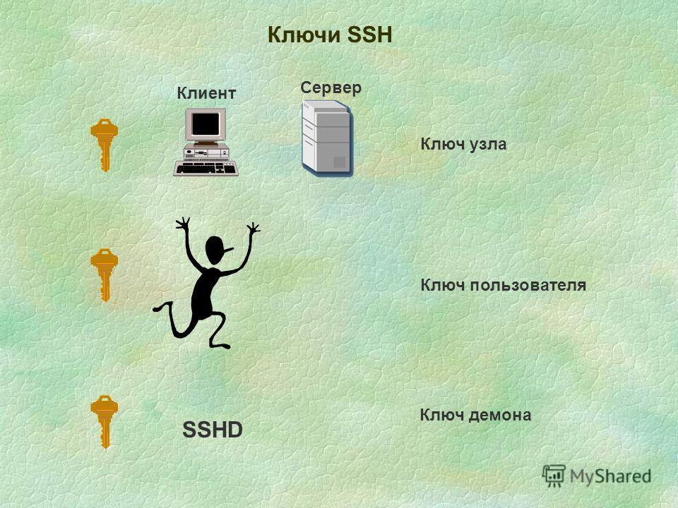 Клиент Сервер Ключи SSH Ключ узла SSHD Ключ пользователя Ключ демона