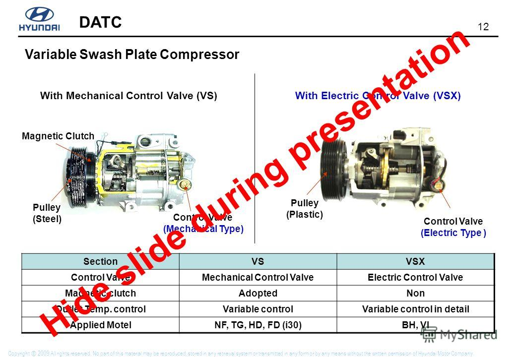 12 DATC Copyright 2009 All rights reserved. No part of this material may be reproduced, stored in any retrieval system or transmitted in any form or by any means without the written permission of Hyundai Motor Company. With Mechanical Control Valve (