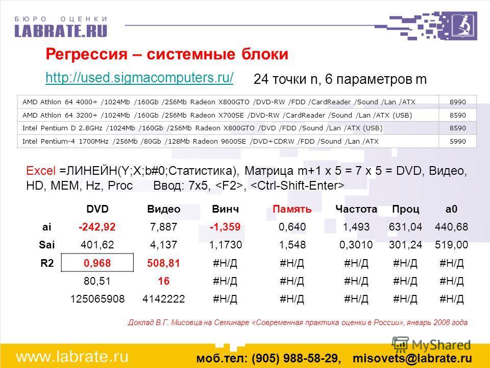 Регрессия – системные блоки http://used.sigmacomputers.ru/ моб.тел: (905) 988-58-29, misovets@labrate.ru Доклад В.Г. Мисовца на Семинаре «Современная практика оценки в России», январь 2008 года 24 точки n, 6 параметров m AMD Athlon 64 4000+ /1024Mb /
