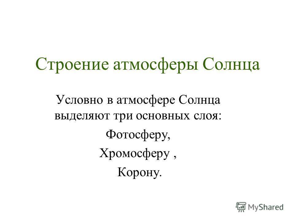 Строение атмосферы Солнца Условно в атмосфере Солнца выделяют три основных слоя: Фотосферу, Хромосферу, Корону.