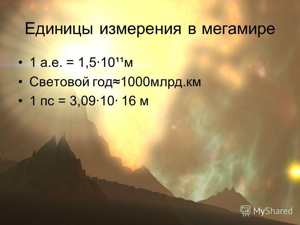 Единицы измерения в мегамире 1 а.е. = 1,5·10¹¹м Световой год 1000 млрд.км 1 пс = 3,09·10· 16 м