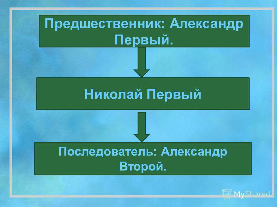 Николай Первый Предшественник: Александр Первый. Последователь: Александр Второй.