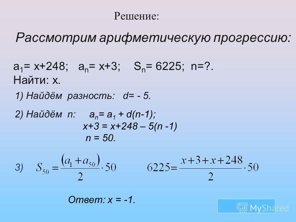 Решение: Рассмотрим арифметическую прогрессию: a 1 = х+248; a n = х+3; S n = 6225; n=?. Найти: х. 1) Найдём разность: d= - 5. 2) Найдём n: a n = a 1 + d(n-1); х+3 = х+248 – 5(n -1) n = 50. 3) Ответ: х = -1. Назад