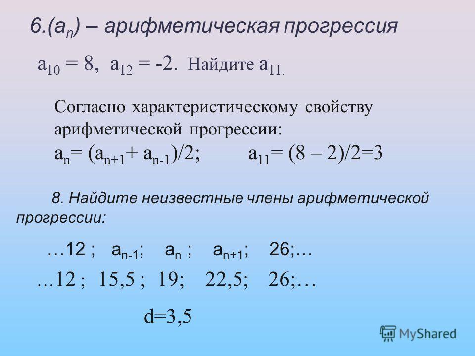 6.(а n ) – арифметическая прогрессия а 10 = 8, а 12 = -2. Найдите а 11. Согласно характеристическому свойству арифметической прогрессии: а n = (а n+1 + а n-1 )/2; а 11 = (8 – 2)/2=3 8. Найдите неизвестные члены арифметической прогрессии: …12 ; а n-1