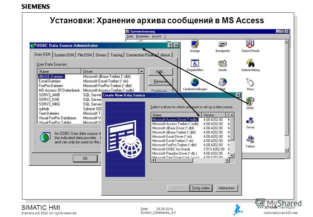 Date: 29.09.2014 System_Databases_9.4 SIMATIC HMI Siemens AG 2000. All rights reserved. SITRAIN Training for Automation and Drives Установки: Хранение архива сообщений в MS Access