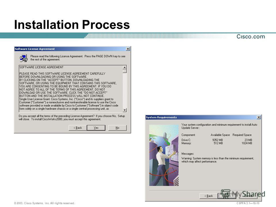 © 2003, Cisco Systems, Inc. All rights reserved. CSPFA 3.118-10 Installation Process