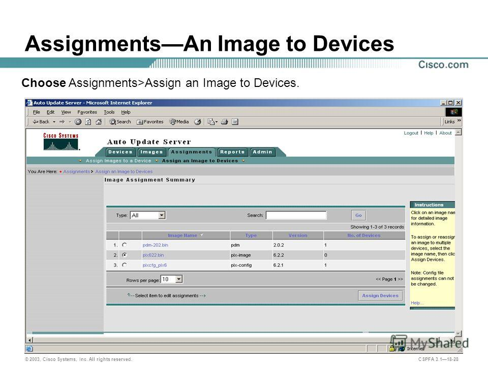 © 2003, Cisco Systems, Inc. All rights reserved. CSPFA 3.118-28 AssignmentsAn Image to Devices Choose Assignments>Assign an Image to Devices.