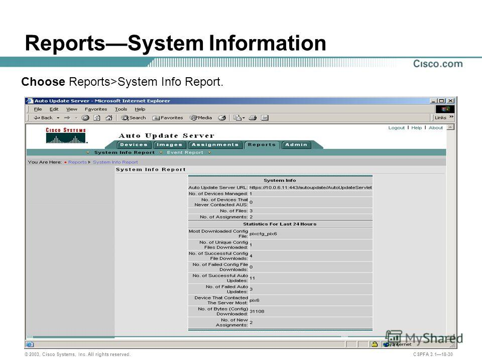 © 2003, Cisco Systems, Inc. All rights reserved. CSPFA 3.118-30 ReportsSystem Information Choose Reports>System Info Report.