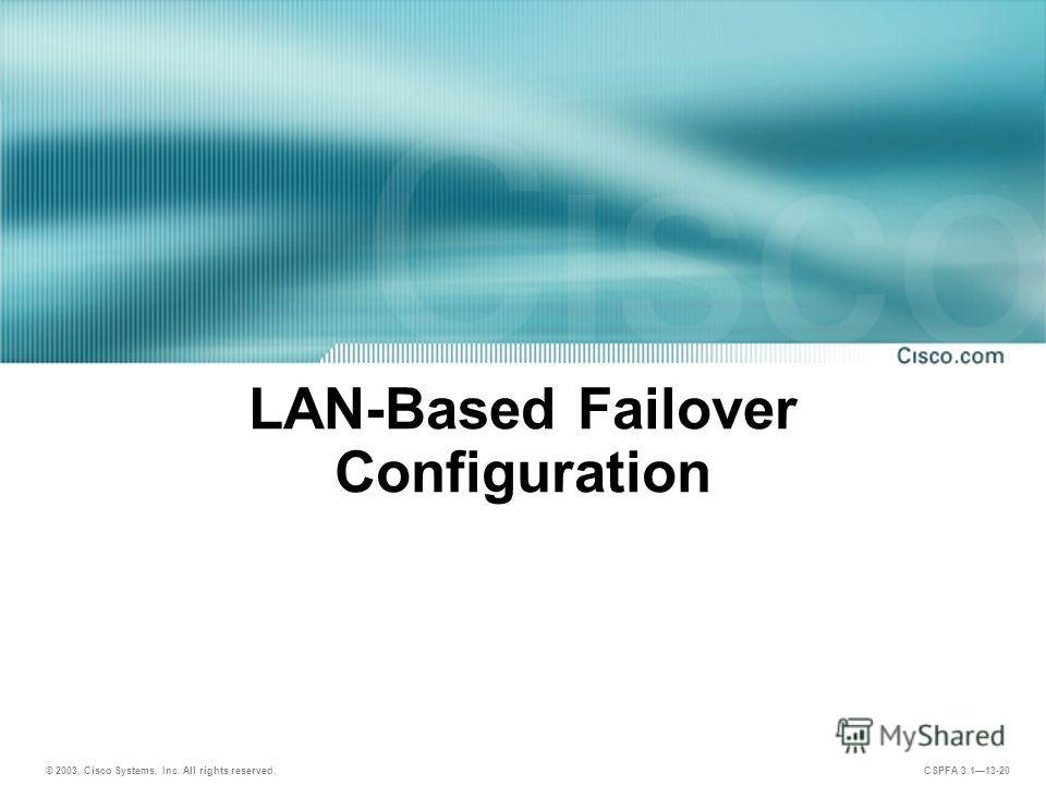 © 2003, Cisco Systems, Inc. All rights reserved. CSPFA 3.113-20 LAN-Based Failover Configuration
