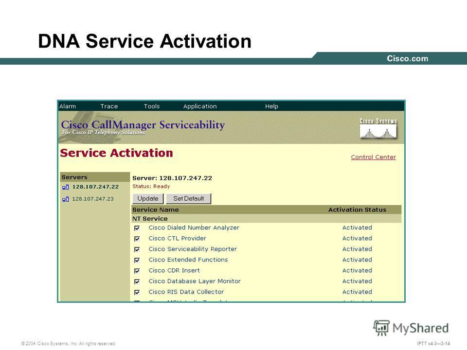 © 2004 Cisco Systems, Inc. All rights reserved. IPTT v4.03-14 DNA Service Activation