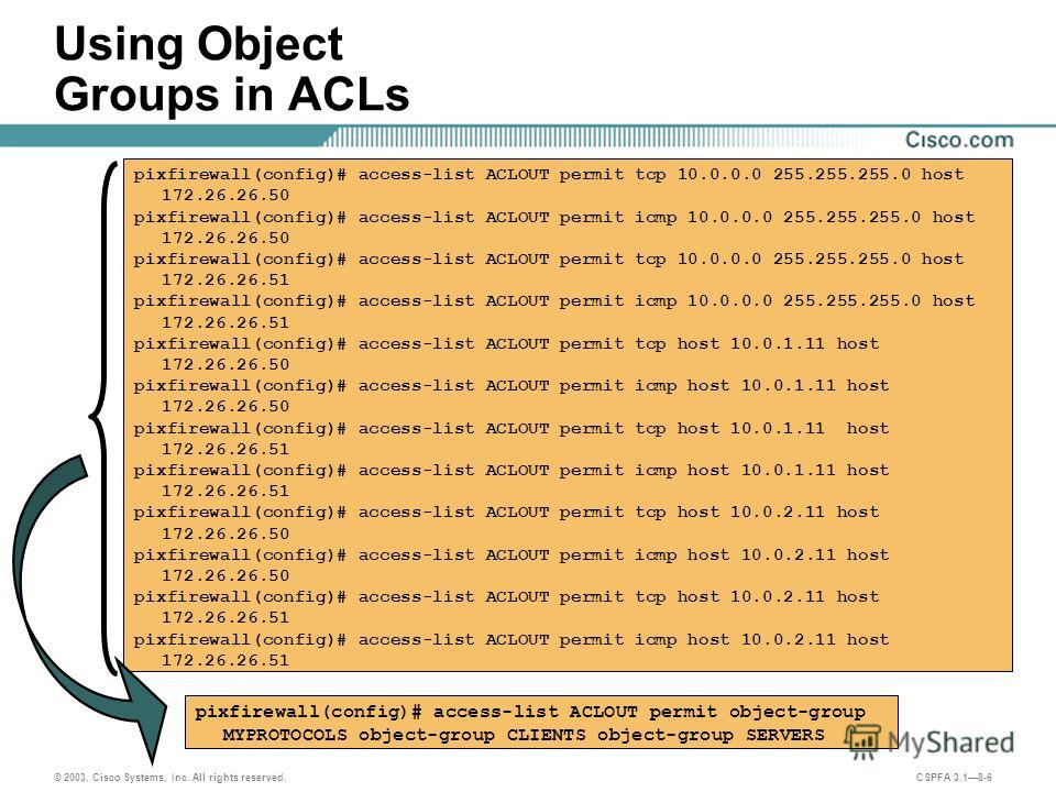 © 2003, Cisco Systems, Inc. All rights reserved. CSPFA 3.18-6 Using Object Groups in ACLs pixfirewall(config)# access-list ACLOUT permit object-group MYPROTOCOLS object-group CLIENTS object-group SERVERS pixfirewall(config)# access-list ACLOUT permit