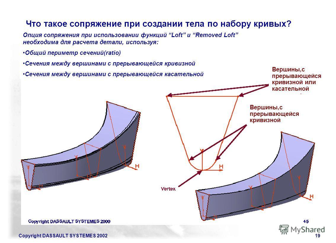 Copyright DASSAULT SYSTEMES 200219 Что такое сопряжение при создании тела по набору кривых? Опция сопряжения при использовании функций Loft и Removed Loft необходима для расчета детали, используя: Общий периметр сечений(ratio) Сечения между вершинами