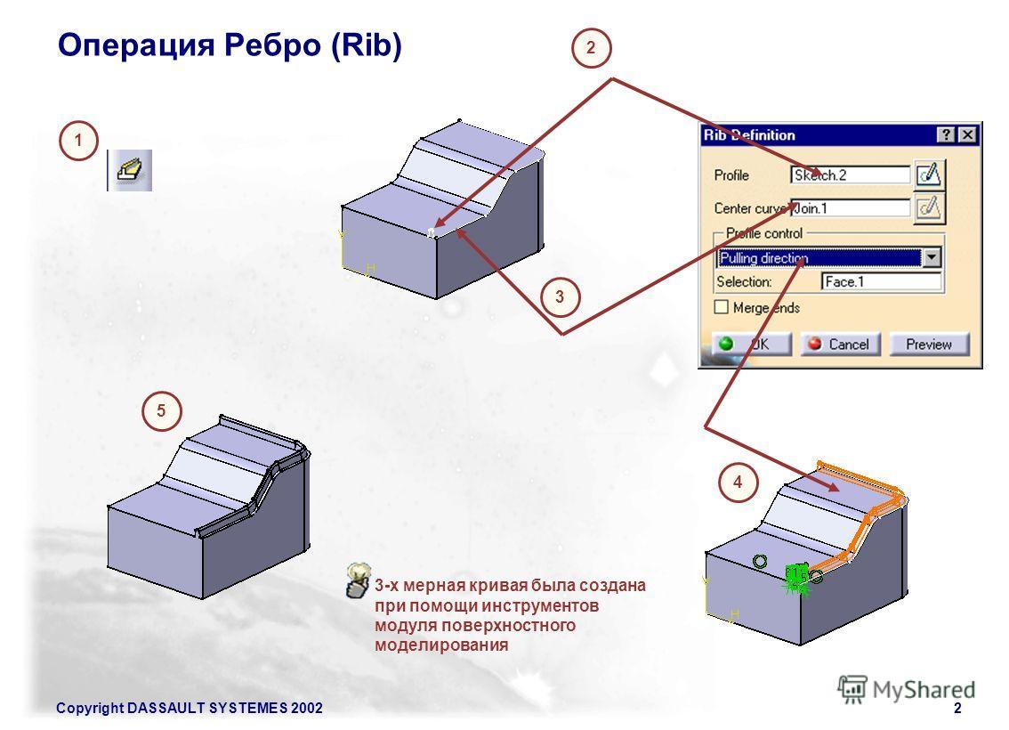 Copyright DASSAULT SYSTEMES 20022 Операция Ребро (Rib) 1 2 3 4 5 3-х мерная кривая была создана при помощи инструментов модуля поверхностного моделирования