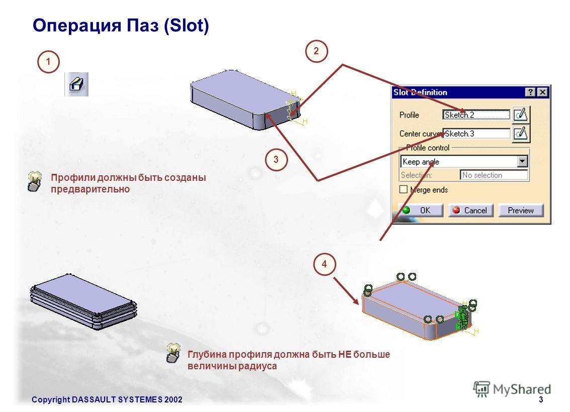 Copyright DASSAULT SYSTEMES 20023 Операция Паз (Slot) 1 2 3 4 Профили должны быть созданы предварительно Глубина профиля должна быть НЕ больше величины радиуса
