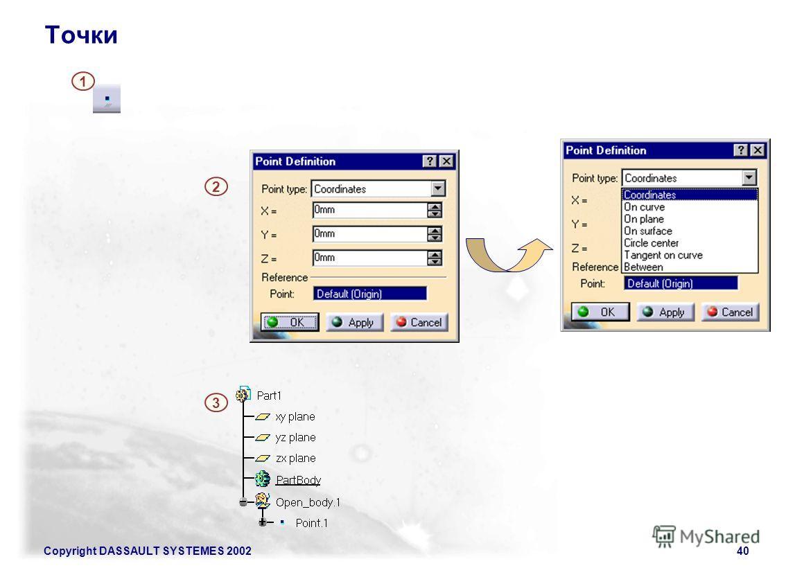 Copyright DASSAULT SYSTEMES 200240 Точки 2 1 3