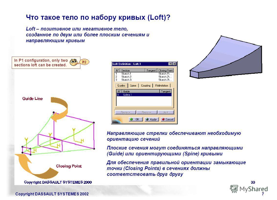 Copyright DASSAULT SYSTEMES 20027 Что такое тело по набору кривых (Loft)? Loft – позитивное или негативное тело, созданное по двум или более плоским сечениям и направляющим кривым Направляющие стрелки обеспечивают необходимую ориентацию сечений Плоск