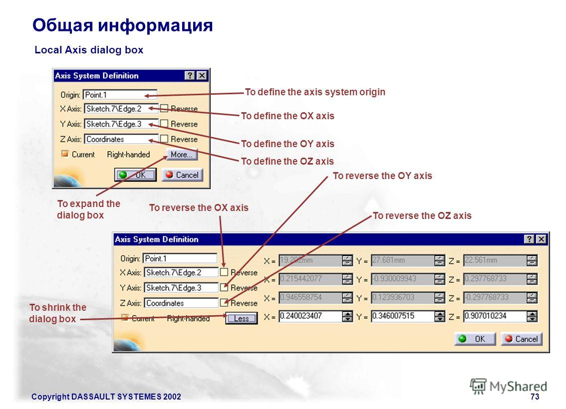 Copyright DASSAULT SYSTEMES 200273 Общая информация Local Axis dialog box To expand the dialog box To shrink the dialog box To define the axis system origin To define the OX axis To define the OY axis To define the OZ axis To reverse the OZ axis To r
