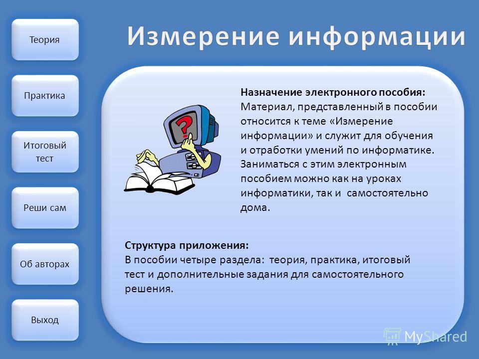 Теория Практика Реши сам Назначение электронного пособия: Материал, представленный в пособии относится к теме «Измерение информации» и служит для обучения и отработки умений по информатике. Заниматься с этим электронным пособием можно как на уроках и