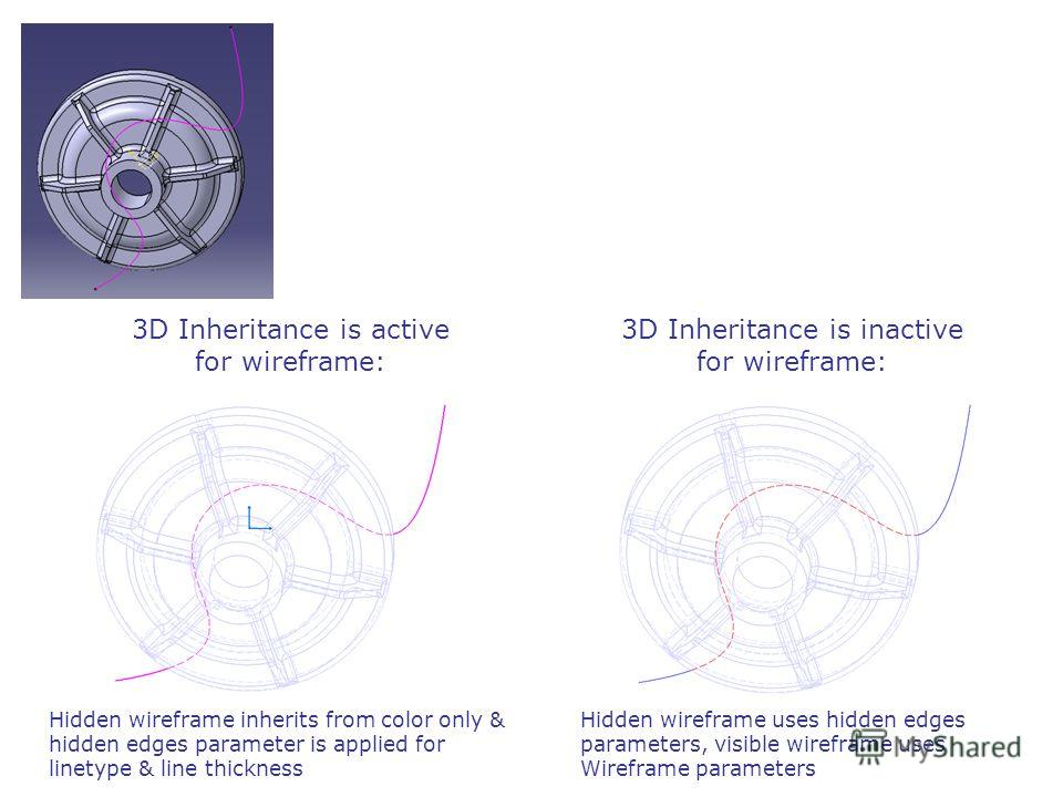 3D Inheritance is active for wireframe: 3D Inheritance is inactive for wireframe: Hidden wireframe inherits from color only & hidden edges parameter is applied for linetype & line thickness Hidden wireframe uses hidden edges parameters, visible wiref