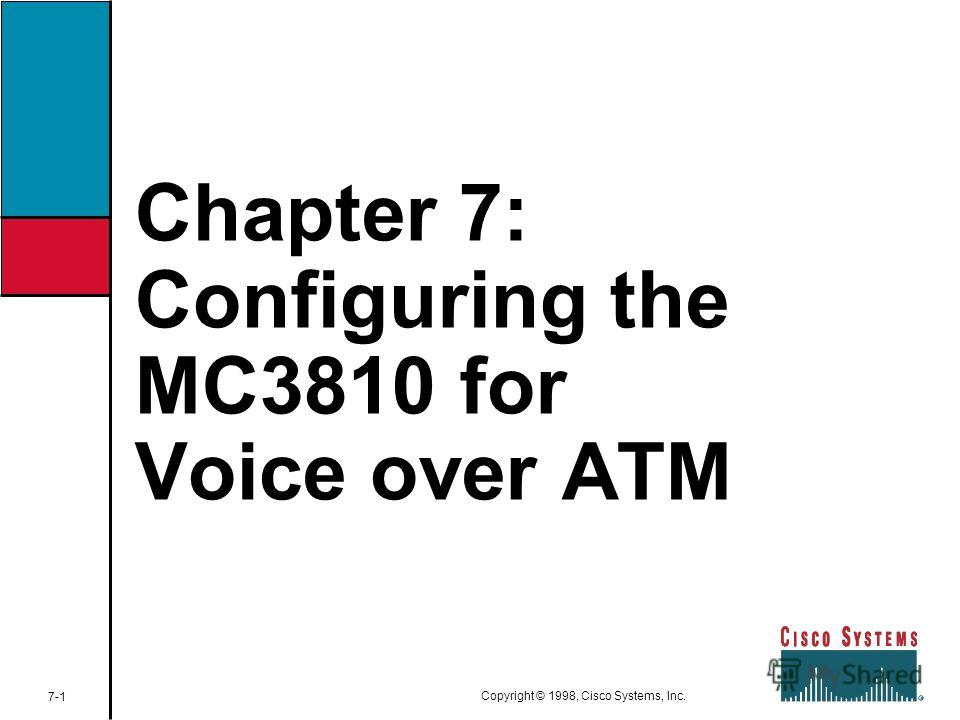 Chapter 7: Configuring the MC3810 for Voice over ATM 7-1 Copyright © 1998, Cisco Systems, Inc.